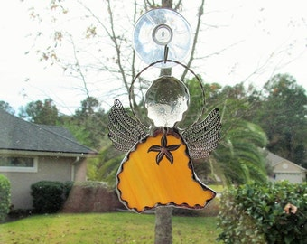 Stained Glass Angel Amber Swirled Opal Glass - Ornament/Suncatcher/Gift Tag with Tibetan Silver Starfish Charm