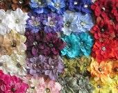 Delphinium Mini Hair Flower Clips/Pins or Shoe Clips - 20 Color Choices!