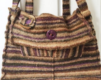 Felted brown and purple striped shoulder bag