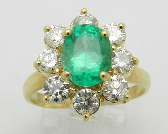 3.26 ct Diamond and Green Emerald Halo Engagement Ring 14K Yellow Gold Size 7.25