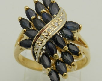 Diamond and Blue Sapphire Ring Vintage Ring Estate 10K Yellow Gold Size 5