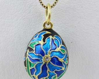 """18K Yellow Gold over Sterling Silver Enamel Swarovski Crystal Flower Pendant with Chain 20"""" Faberge Style Egg"""