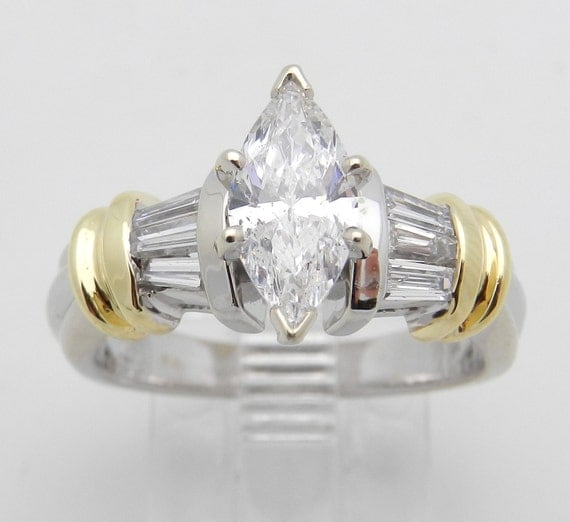 Marquise Diamond Engagement Ring 14K White and Yellow Gold 1.50 ct Size 6.75