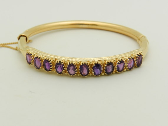 Amethyst Bangle Bracelet 14K Yellow Gold Vintage Bracelet Estate 7.00 ct Oval Purple