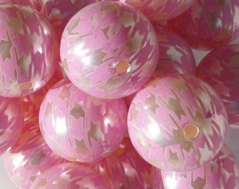20mm, 10CT, Pearl White and Pink Houndstooth Print Gumball Beads, C62