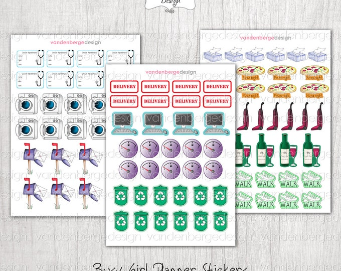 Planner Calendar Stickers- Busy Girl Set 2! Assorted Functional Stickers -Perfect for the Erin Condren Planner!
