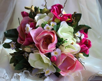 25% OFF SALE Blossum - Bridal bouquet, zen inspired.  Magnolias, blossom, buds and foliage in shades of pink and white..