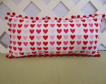 Valentine Pillow / Hearts Pillow in Red Pink and White / Accent Pillow / Novelty Pillow / Valentine Gift