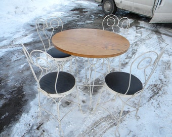 nice shape vintage antique 1930S 1940S mid century 5 piece wire ice CREAM parlor PATIO SET   pick up only