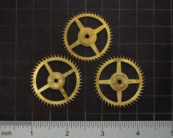 3 vintage brass gears, antique clock movement gears, brass clock wheels Steampunk Supplies 3609