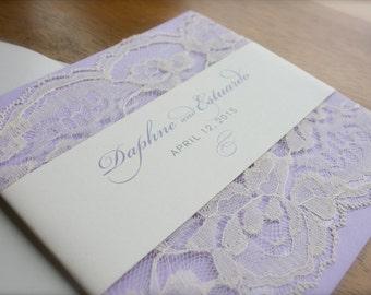 Simple Romantic Custom Lace Wedding Invitation in Lavender, Gray & Cream