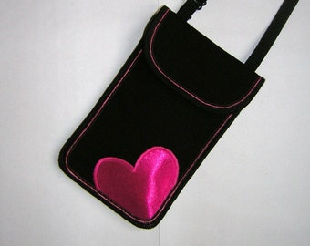 iPhone 6s Plus Case Heart for Love, Smartphone mini Cross body Bag Cell Phone Purse cute mini cover Black fabric with Pink heart