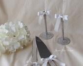Wedding champange flutes, toasting flutes (set of 2), cake cutter and knife set