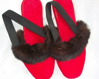 Vintage Slippers Red Velvet with Real Fur Trim ~ Flats ~ House Shoes ~ Hollywood Glam
