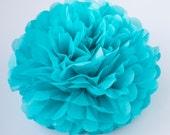 TURQUOISE color tissue paper PomPom - party pompoms