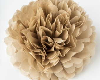 Paper pom pom in TAN -  wedding decorations / party decor/ nursery decor/ bridal baby shower/ tissue paper pompoms / party poms