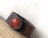 Brick Red Jasper and Rustic Copper Ring - Alternative Wedding or 7th Anniversary Band - Weathered Copper and Red Stone Jewelry