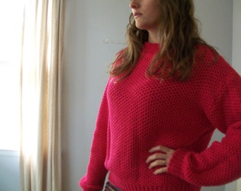 90's Vintage Chunky Open Knit Sweater- Pink- Boatneck (( Size Small))