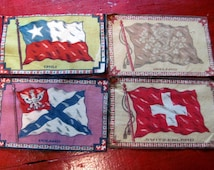 Flannel Tobacco Flags from Early 1900's / Tobacco Flags / Chili / Poland / Switzerland / Ireland