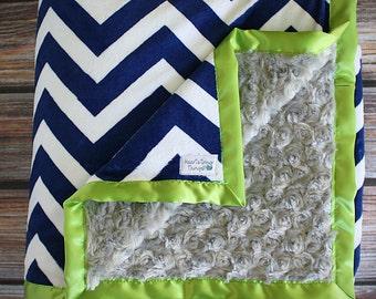 Minky Blanket, Blanket for Men, Seahawks blanket, seahawks minky, NFL blanket, Adult minky, Seattle blanket, Lime green and blue