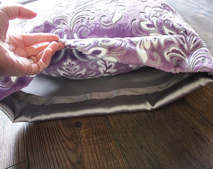 Minky Pillowcase, minky and satin pillowcase, satin pillowcase, pillow sham, soft pillowcase, child pillowcase, adult pillowcase, purple