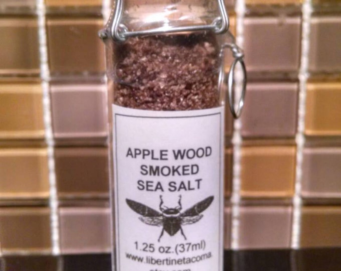 Apple Wood Naturally Smoked Sea Salt in a glass vial