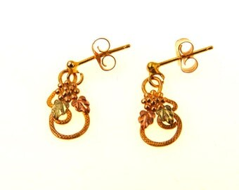 Vintage 10k Black Hills Gold Tiny Drop Earrings