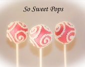 So Sweet Pops Happily Fancy Pink with White Swirl NonPareils Inspired Cake Pops