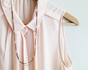 Minimalist silk & Tubes Necklace