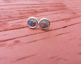 Multicolor Opal & Sterling Silver Stud Earrings 4mm Synthetic Mulicolored Opal Cabachons Set in 925 Sterling Silver