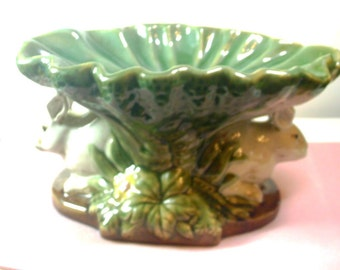 Vintage Ceramic Pedestal Dish with Rabbits and Lily Pad - No. 1376