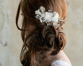 Crystal Bridal Hair Comb with sheer flower petals, rhinestones, diamonds, wedding flower FA149