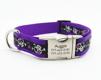 Stars and Skulls Dog Collar with Laser Engraved Personalized Buckle - PURPLE