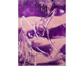 Unicorn 2/2 Original Monoprint Contemporary Abstract Acrylic Painting 5x7 Pink Purple Lavender White