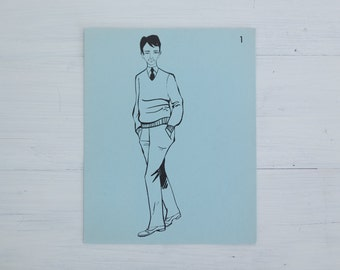vintage french flash card - man with hands in pockets