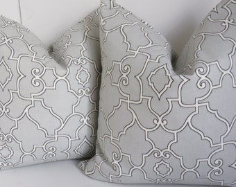 Light Gray pillow cover, Gray pillow Cover, Decorative Pillow, Fretwork Pillow Cover, Gray fretwork Pillow