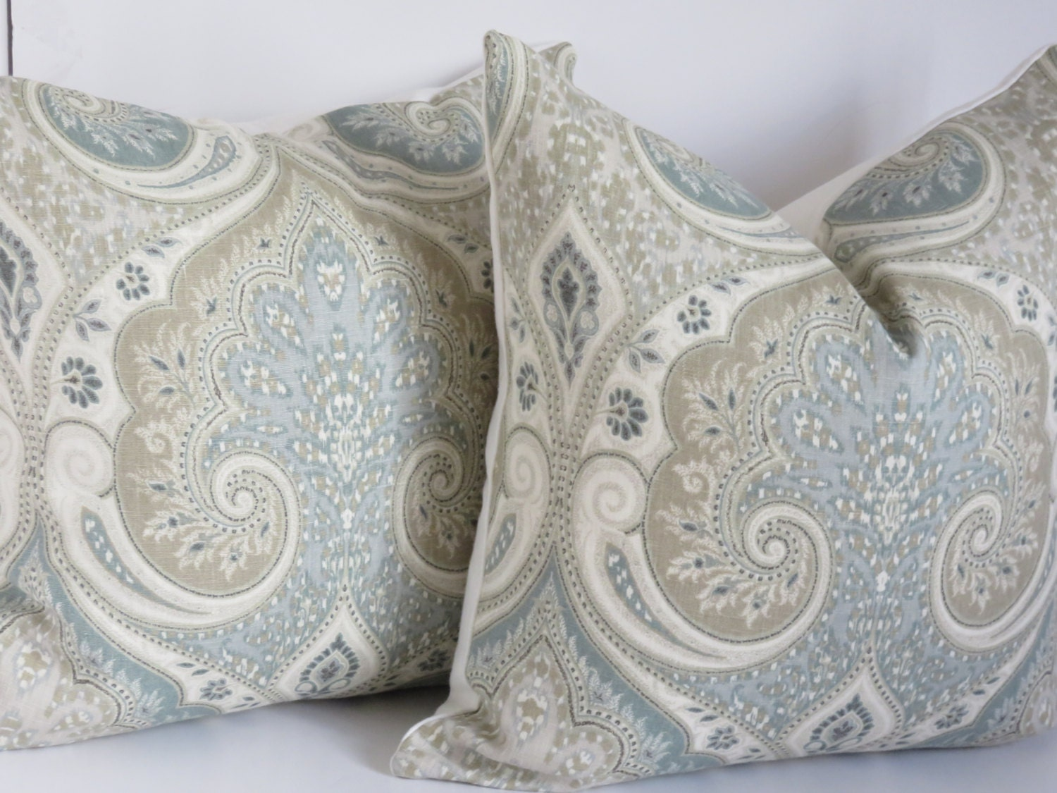 Kravet Pillow Cover Light Blue Gray Pillow Cover Paisley