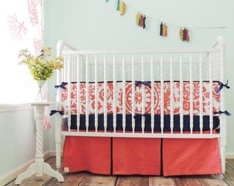 Boutique Baby Bedding, Coral and Navy Crib Skirt Only, Coral and Navy Crib Bedding, Coral Suzani Crib Bedding, Baby Girl BEdding Little Girl