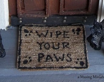 Dog Lover Sisal Doormat in 1:12 Scale for Dollhouse Miniature Veterinarian or Pet Shop