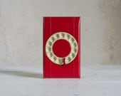 Vintage Bates Dialist  // Model L in Red & Cream // Telephone Rotary Indexer // Desk Decor Mid Century