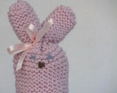 Easter bunny egg cozy - pink hand knitted with bow