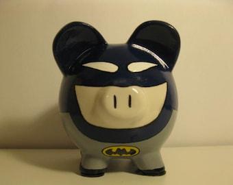 Batman Piggy Bank, Super Hero, Personalized,  Batpig Piggy Bank - Inspired by Batman (Unofficial) - MADE TO ORDER