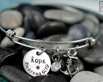 Expandable Wire Bangle - Charm Bracelet - Hand Stamped Jewelry - Personalized Bracelet - Hebrews 6:19 - Hope Anchors the Soul - Bible Verse