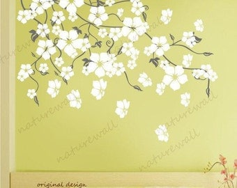 Vinyl wall decals  wall stickers blossom branch decals baby nursery kids flower floral nature  wall decor wall art- Cherry Blossom Tree