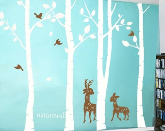 Vinyl tree  Decals  baby nursery decal Kids wall decals white tree decals wall art deer decal -birds and deer in Birch forest
