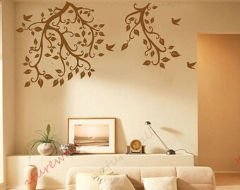 Tree branch wall decals wall stickerswall decor wall art -tree branch with birds