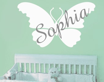 Kids Wall Decal -Nursery Wall Decal -baby monogram decal-Girls Name Vinyl Wall Decal-butterfly- Personalized