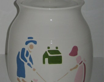 Farmer and Wife Cookie Jar, Handmade and Hand Painted, 1989