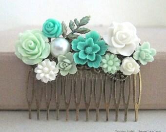 Teal Hair Comb, Aqua Wedding, Turquoise, Seafoam, Mint, White, Bridal Hair Slide, Bridesmaids Gift, Custom Design, Personalised Hair Comb