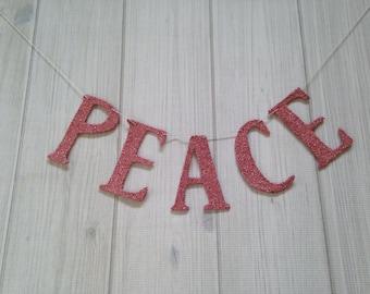 Sale Peace Banner Garland Easter Decor Shabby Chic Decor Vintage Decor Pink German Glass Glitter Home Decor Christmas Decor